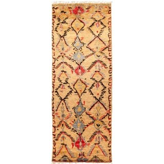"""Tullu, Hand Knotted Area Rug - 4' 3"""" x 11' 3"""" - 4'3"""" x 11'3"""" Runner"""
