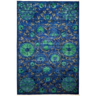 """Suzani, Hand Knotted Area Rug - 4' 3"""" x 6' 4"""" - 4' 3"""" x 6' 4"""""""