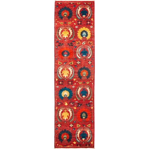 """Suzani, Hand Knotted Area Rug - 2' 9"""" x 10' 5"""" - 2'9"""" x 10'5"""" Runner"""