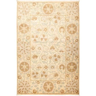 """Suzani, Hand Knotted Area Rug - 6' 3"""" x 9' 4"""" - 6'3"""" x 9'4"""""""
