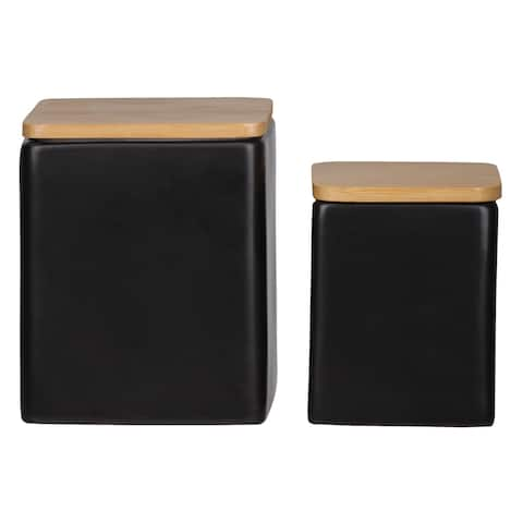 UTC50949 Dolomite Square Canister with Wooden Lid and Smooth Design B