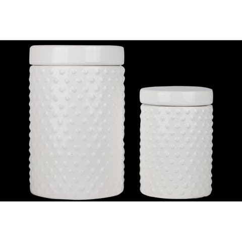 UTC50952 Ceramic Round Canister with Lid and Pimpled Design Body Set