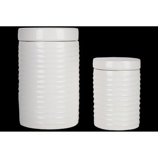 Ceramic Round Canister with Lid and Ribbed Design Body, Gloss White Finish, Set of 2
