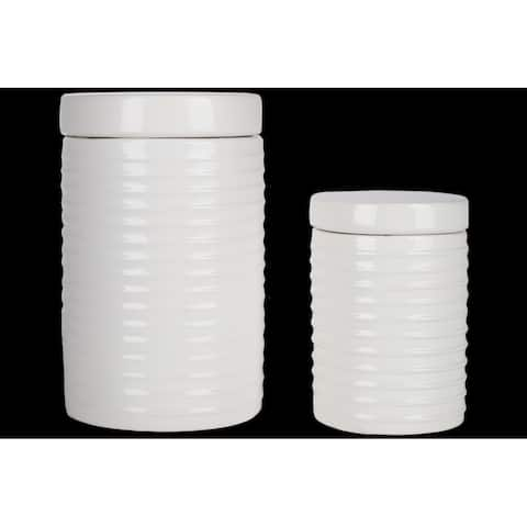 UTC50950 Ceramic Round Canister with Lid and Ribbed Design Body Set o