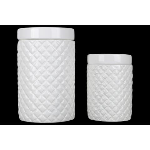 Ceramic Round 36 oz. and 28 oz. Canister with Lattice Diamond Design, Gloss White Finish, Set of 2