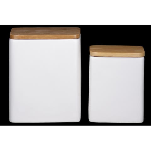 UTC50948 Dolomite Square Canister with Wooden Lid and Smooth Design B