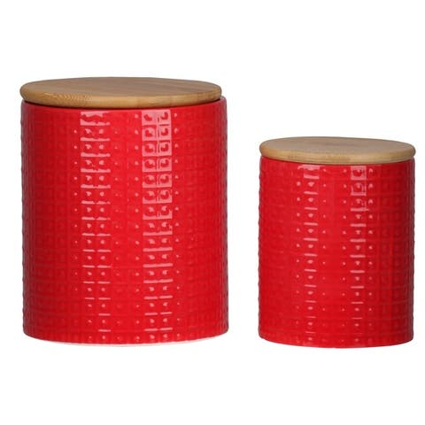 Round Ceramic Canister with Wooden Lid and Pimpled Pattern
