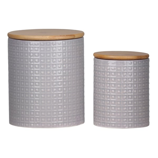 UTC50940 Dolomite Round Canister with Wooden Lid and Pimpled Pattern