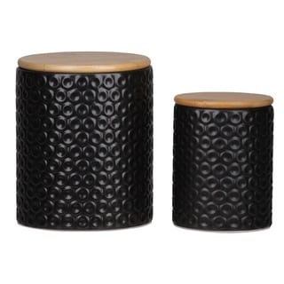 Ceramic Round Canister with Pressed Dotted Design, Coated Black Finish