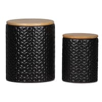UTC50955 Dolomite Round Canister with Wooden Lid and Pressed Dotted D