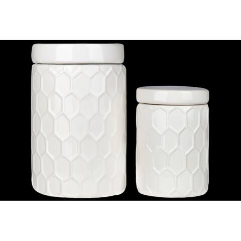 UTC50951 Ceramic Round Canister with Lid and Engraved Honeycomb Desig