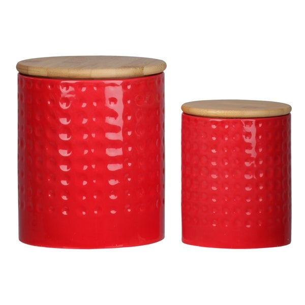 UTC50942 Dolomite Round Canister with Wooden Lid and Engraved Dotted