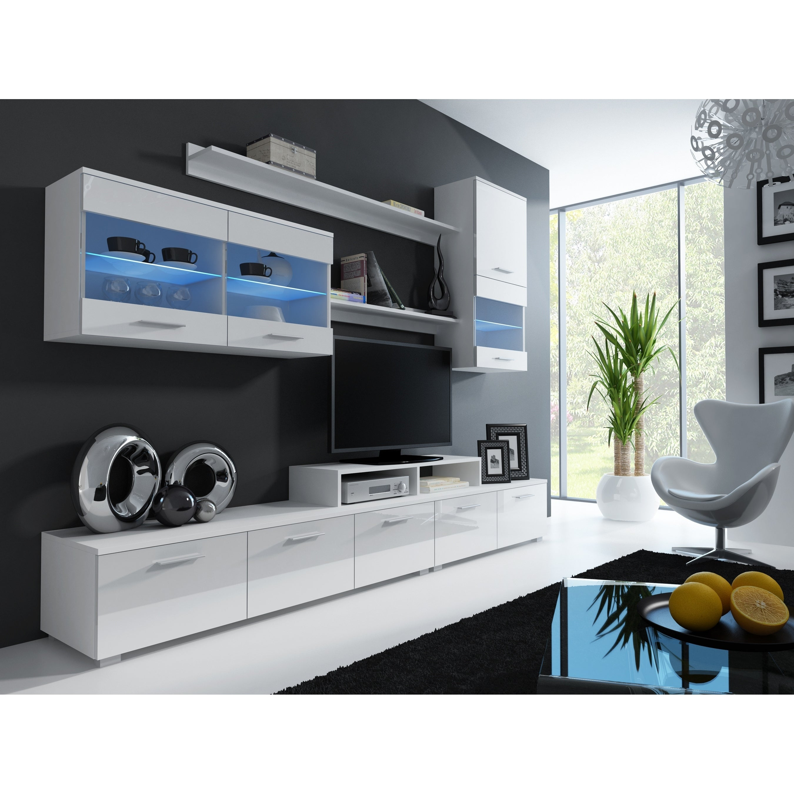 Paris Modern Entertainment Center Wall Unit With Led Lights Overstock 26037054