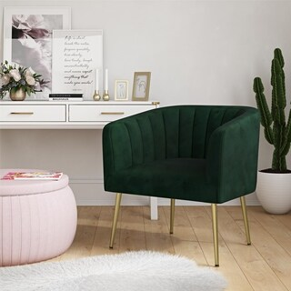 CosmoLiving Owsley Channel Back Green Accent Chair with Gold Legs