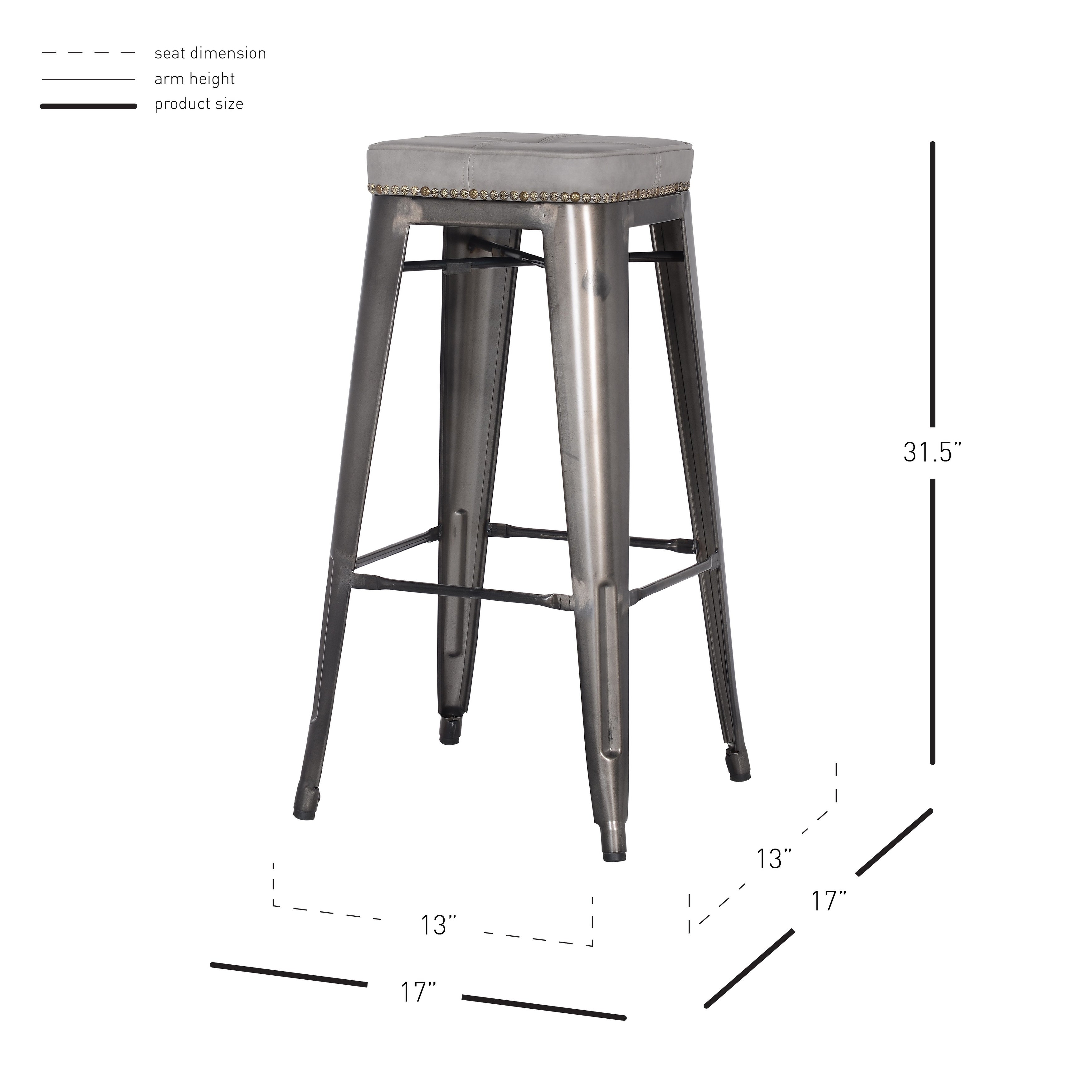 Brilliant Metropolis Pu Leather Metal Backless Bar Stool Set Of 4 Caraccident5 Cool Chair Designs And Ideas Caraccident5Info