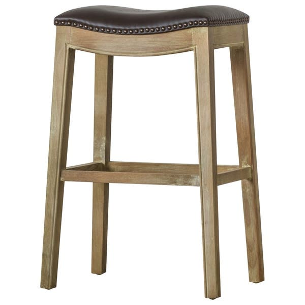Excellent Shop Elmo Bonded Leather Bar Stool Free Shipping Today Andrewgaddart Wooden Chair Designs For Living Room Andrewgaddartcom