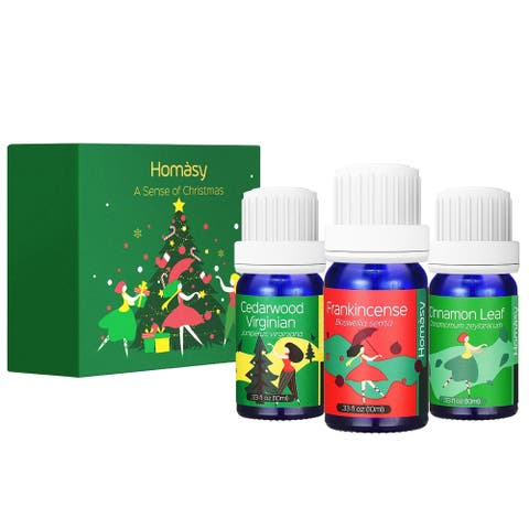 Homasy Top 3 Aromatherapy Essential Oils Christmas Gift Set