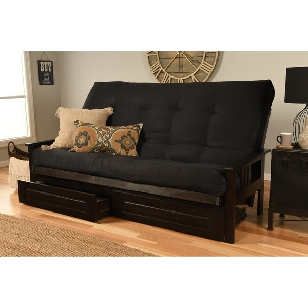 check out 0d0a3 ed01f Shop Queen-size Futon with Espresso Finish, Storage Drawers ...