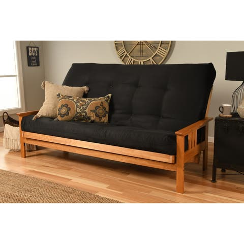 Queen Size Futon With Ernut Finish And Suede Mattress