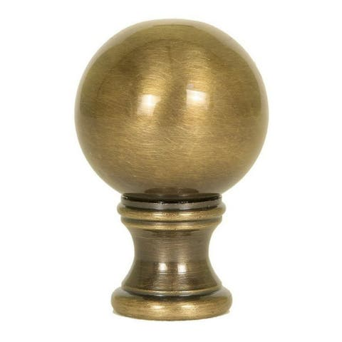 """Sphere Round Lamp Finial Antique Brass 1.2""""h"""