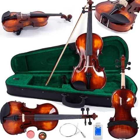 Glarry Antique Wood Violin with Accessories Pack