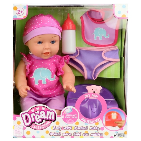 "Dream Collection 12"" Baby Doll with Musical Potty - Pink. Opens flyout."