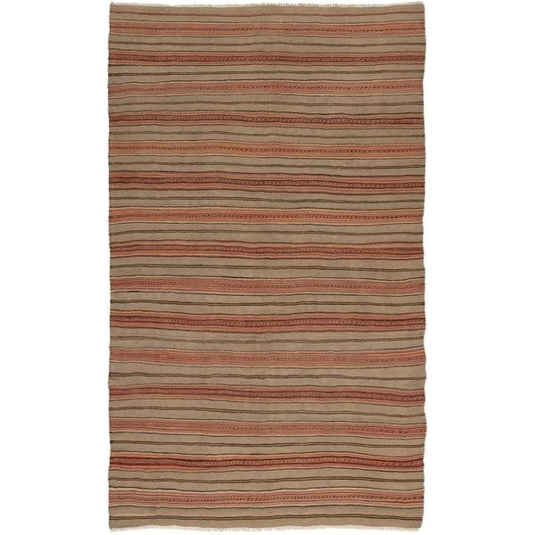 ECARPETGALLERY Flat-weave Bohemian Khaki Wool Kilim - 5'1 x 8'7