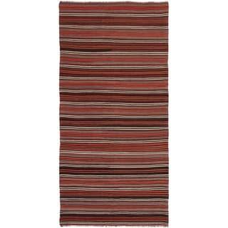 ECARPETGALLERY  Flat-weave Bohemian Dark Red Wool Kilim - 4'10 x 10'1