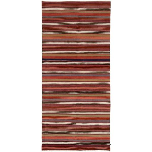 ECARPETGALLERY Flat-weave Bohemian Dark Red Wool Kilim - 4'8 x 11'1
