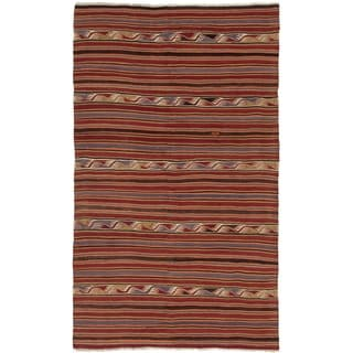 ECARPETGALLERY  Flat-weave Bohemian Dark Red Wool Kilim - 5'2 x 8'6