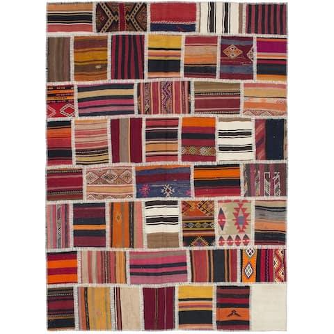 Flat-weave Anatolia Patch Red Wool Kilim