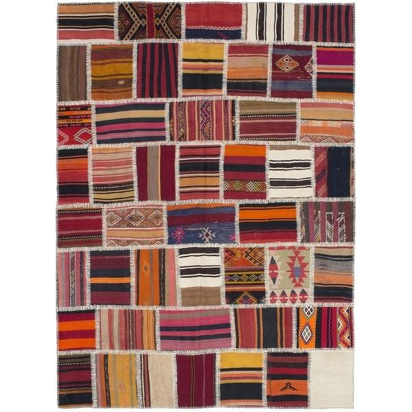 Flat-weave Anatolia Patch Red Wool Kilim. Opens flyout.