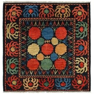 eCarpetGallery Hand-knotted Shalimar Dark Copper, Dark Navy Wool Rug - 5'2 x 5'2