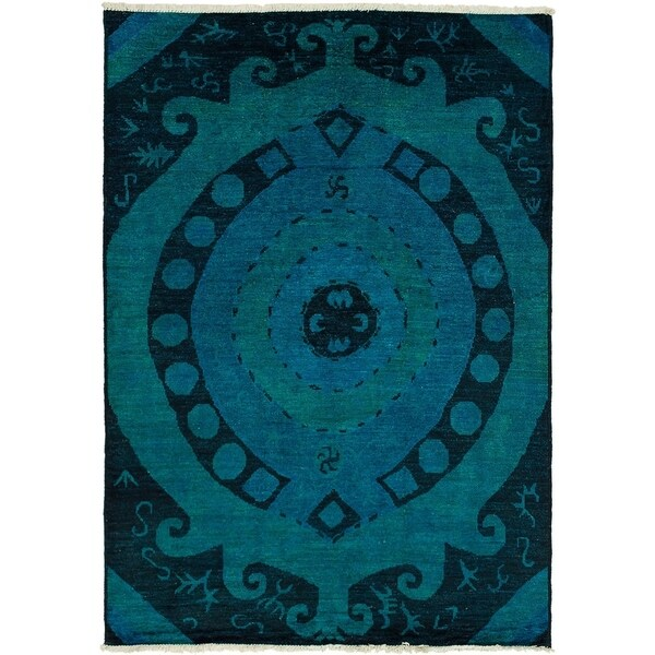 eCarpetGallery Hand-knotted Vibrance Black, Blue Wool Rug - 6'6 x 9'2