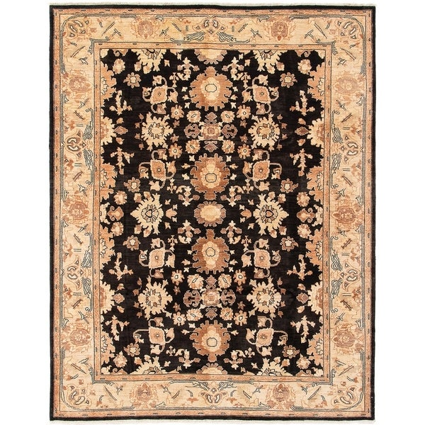 eCarpetGallery Hand-knotted Chobi Finest Black Wool Rug - 7'10 x 10'0