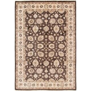eCarpetGallery  Hand-knotted Chobi Finest Dark Brown Wool Rug - 7'1 x 10'5