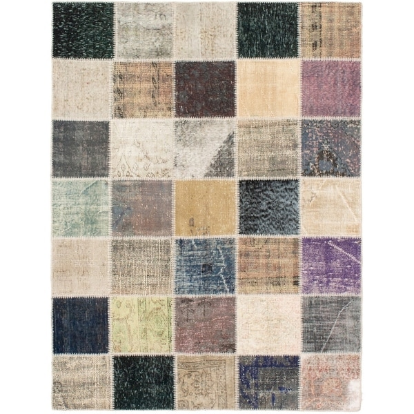 eCarpetGallery Hand-knotted Color Transition Patch Grey Wool Rug - 4'9 x 6'7