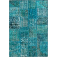 eCarpetGallery  Hand-knotted Color Transition Patch Turquoise Wool Rug - 4'7 x 6'5