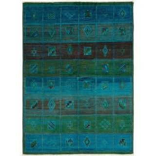 eCarpetGallery  Hand-knotted Vibrance Blue Wool Rug - 6'4 x 8'9