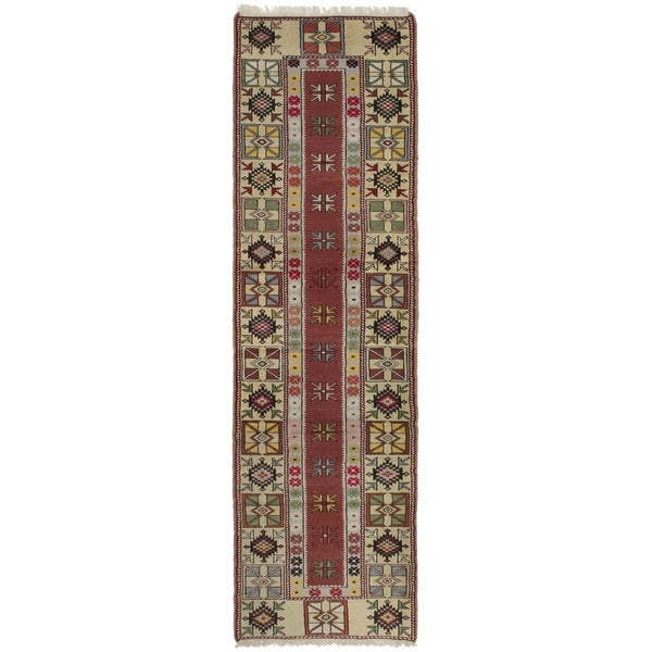 eCarpetGallery Hand-knotted Ushak Cream, Dark Copper Wool Rug - 2'6 x 9'2