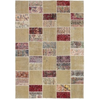 eCarpetGallery  Hand-knotted Vintage Anatolia Patch Khaki Wool Rug - 4'8 x 6'9