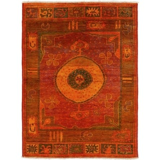 eCarpetGallery  Hand-knotted Vibrance Dark Red, Light Orange Wool Rug - 6'5 x 8'8