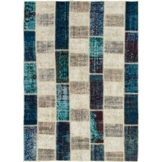 eCarpetGallery  Hand-knotted Color Transition Patch Grey, Wool Rug - 4'8 x 6'7