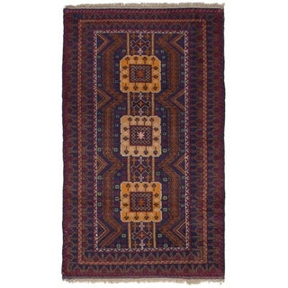 eCarpetGallery  Hand-knotted Rizbaft Navy Blue Wool Rug - 3'5 x 6'3