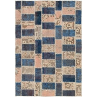 eCarpetGallery  Hand-knotted Color Transition Patch Brown, Wool Rug - 4'2 x 6'0