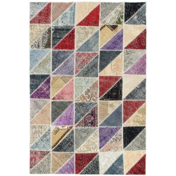 eCarpetGallery Hand-knotted Color Transition Patch Grey Wool Rug - 4'6 x 6'9