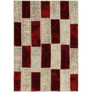 eCarpetGallery  Hand-knotted Color Transition Patch Dark Red Wool Rug - 4'5 x 6'2