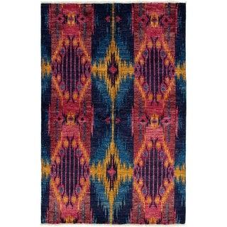 eCarpetGallery  Hand-knotted Shalimar Dark Navy, Dark Pink Wool Rug - 6'0 x 9'3