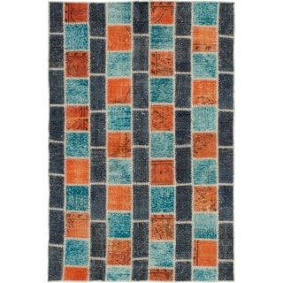 eCarpetGallery  Hand-knotted Color Transition Patch, Wool Rug - 4'7 x 6'11