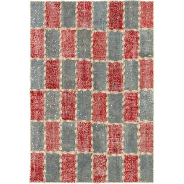 eCarpetGallery Hand-knotted Color Transition Patch Dark Red, Wool Rug - 4'3 x 6'4